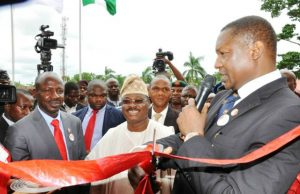…From the right, Attorney-General of the Federation and Minister of Justice, Abubakar Malami, Oyo State Governor, Senator Abiola Ajimobi and Acting Chairman, Economic and Financial Crimes Commission (EFCC), Ibrahim Magu during the Official commissioning of the Ibadan Zonal Office and Stakeholders Engagement Session at Iyaganku GRA, Ibadan, Oyo State…