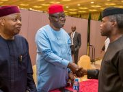...Ag President Osinbajo..welcoming his guests...
