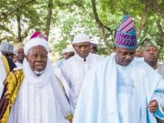 Governor Ibikunle Amosun of Ogun State, right, with the Chief Imam of Egba Land, and other Muslim faithful during the prayer session…