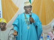 Rotarian Dayo Niyi Idowu...delivering his speech at the event...