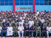 "Chairman, Heirs Holdings and Guest Speaker, Mr. Tony Elumelu (middle); Commandant, Armed Forces Command and Staff College, Jaji, Air Vice Marshall Suleiman Abubakar Dambo ; and Deputy Commandant, Armed Forces Command and Staff College, Jaji, Rear Admiral Ifeola Mohammed ), flanked by the course participants of the Senior Course 40 of the Armed Forces Command and Staff College, during the Guest Lecture Series of the College where Elumelu delivered a paper titled ""Leadership: Private Sector Perspective"", in Jaji, Kaduna"