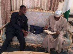Pastor Enoch Adeboye, left, with President Muhammadu Buhari in London on Friday...