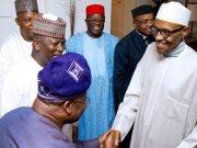 ...President Muhammadu Buhari, welcoming Governor Abiola Ajimobi to his London medical vacation abode recently...
