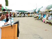Governor of Osun, Ogbeni Rauf Aregbesola; giving a farewell speech at the ceremony
