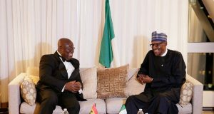 President Muhammadu Buhari, right, with his Ghanaian counterpart...