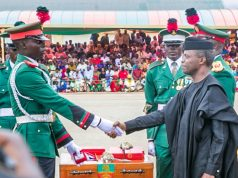Vice President Yemi Osinbajo, right...at the Academy on Saturday...