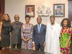 Vice President Yemi Osinbajo with Bolanle Austen-Peters, Producer & Director (immediate right); Bimbo Manuel, Actor (2nd right); with Hon. Min of Information, Alh. Lai Mohammmed (immediate left) and others during the visit…