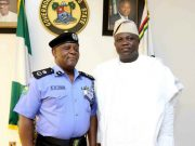 Lagos Compol, Edgal Imohimi, left, with the state's Governor Akinwunmi Ambode...