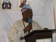 Emeritus Professor Anthony Ijaola Asiwaju...delivering his eye-opening lecture...