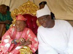 Otunba Gani Adams, right, with the Alaafin of Oyo, Oba Lamidi Adeyemi...