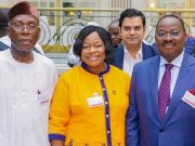 L-R: Minister of Agriculture and Rural Development, Chief Audu Ogbeh; National President, Nigerian Association of Chambers of Commerce, Industry, Mines and Agriculture, Chief Alaba Lawson; and Oyo State Governor, Senator Abiola Ajimobi; during the summit, holding at Waldorf Hilton Hotel, London...on Tuesday…