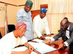 From the left: Governor State of Osun, Ogbeni Rauf Aregbesola, Commissioner for Environment and Sanitation, Hon. Idowu Korede, Senior Special Adviser On Osun Weste Management Agency, Alhaji Ganiyu Oyeladun, and Acting Solicitor General, Adedapo Adeniji, during the Signing of the Memorandum of Understanding (MoU)