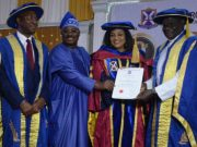 L-R: Pro-Chancellor/Chairman, Governing Council, Ajayi Crowther University (ACU), Oyo, Chief Wole Olanipekun, SAN; Oyo State Governor, Senator Abiola Ajimobi; his wife and recipient of honorary Doctor of Science (Public Administration), Mrs. Florence Ajimobi; and Chancellor, ACU, Most Rev. Peter Akinola, during the institution's 9th convocation ceremony, held in Oyo... on Friday…