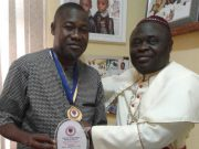 Bishop of Ogbomosho Diocese Reverend (Dr) David Ademola Moradeyo, right, presenting the award of excellence to Hon. Ademola Akeem Ige as the Faithful of God on behalf of Methodist Church, Nigeria Diocese of Ogbomosho. The award was in recognition and appreciation of dedication to the Service of God and humanity…
