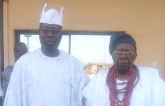 Chief Gani Adams, left, with his host, His Imperial Majesty, Oba Dr Gabriel Adekunle Aromolaran II CFR LLD The Owa Obokun Adimula and Paramount Ruler of Ijesaland…