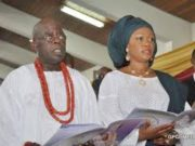 Senator Oluremi Tinubu and her husband, Asiwaju Bola Ahmed Tinubu...at a church programme...