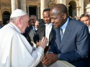 Hon Yakubu Dogara, right, with Pope Francis...