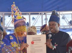 Governor Ibikunle Amosun of Ogun State, right, with the new Oba Babatunde Adewale Ajayi...