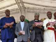 The convener and Chieftain of People's Demoncratic Party, Engr. Seyi Makinde's, CAN President, Reverend Samson Ayokunle, Oyo State CAN Chairman, Pastor Benjamin Akanmu and Archbishop Ayo Ladigbolu at the event…