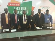 Professor Ayobami Salami, third from the left, with his management team at the Technical University, Ibadan...