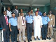 The team from the Technical University led by Professor Ayobami Salami with the Oyo State Police Commissioner, Abiodun Odude with his men...during the visit...