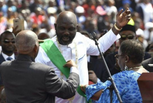 President George Weah...being sworn in as Liberia's new leader...