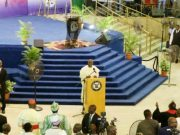 Governor Akinwunmi Ambode of Lagos State…delivering his goodwill message at the Inter-Denominational Service…
