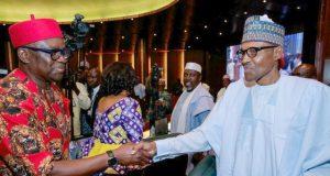 Ekiti's Gov Ayodele Fayose, left, with President Muhammadu Buhari...sworn 'friends'?
