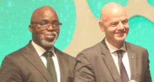 Amaju Pinnick, left, with FIFA Boss...