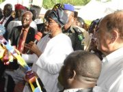 Osun Governor, Ogbeni Rauf Aregbesola, commissioning the Lakeside Resort Restaurant…with him are the site contractor manager, Managing Director Tecno Katagum Construction Company Ltd., Mr. Alexander Iltchev and others during the event…