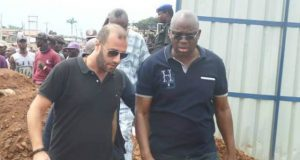 Governor Ayodele Fayose, right, inspecting one of his projects in Ekiti State...