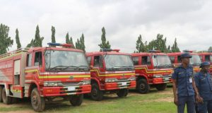 ...the newly refurbished fire fighting vehicles in Osun State...