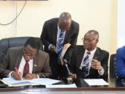 Tech-U Vice-Chancellor, Professor Ayobami Salami signs the MoU as the Senior Assistant Registrar, Mr. Adeyemi Opakunle, the Registrar, Mr. Alex Oladeji and Chairman of the NSE, Oluyole Branch, Engr. Ademola Agoro watch with keen interest