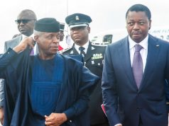 Vice President Osinbajo received on arrival at the airport by Togolese President Faure Gnassingbe for the meeting in Lome…