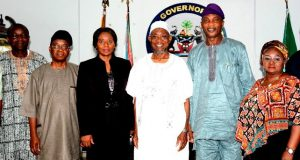 Osun State's Governor Rauf Aregbesola (3rd right), General Manager, Renewable Energy of NNPC, Mrs Clara Eminike (3rd left); Chief of Staff to the Governor, Osun, Alhaji Gboyega Oyetola (2nd left), Secretary to the State Government, Alhaji Moshood Adeoti (2nd right), Commissioner for Federal Matters, Hon. Idiat Babalola (right), and Manager of Operation Mr Bernard Agvbe, during a courtesy Visit to the Governor, at the Government House Osogbo