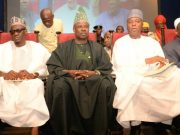 L-R: Kwara State Governor, Alhaji Abdulfatah Ahmed, Ogun State Governor, Senator Ibikunle Amosun Senate President, Dr. Bukola Saraki…at the event…