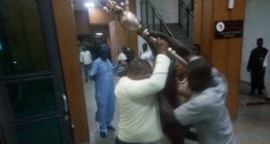 ...tug of war to secure the Mace during the invasion on Wednesday...