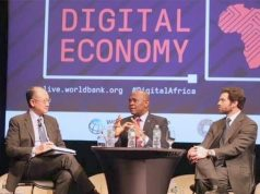 Tony Elumelu, middle, at one of the meetings in the US...